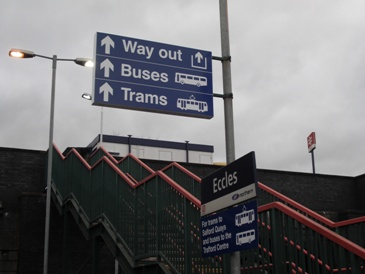 new interchange signs at Eccles station