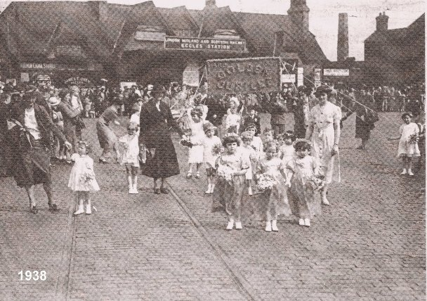 Whit Walks at Eccles Station in 1938